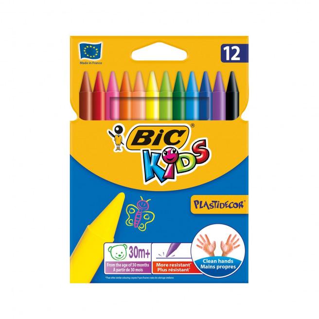 Craies de coloriage BIC KIDS PLASTIDECOR - étui de 12