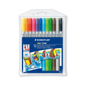 Feutres de coloriage Staedtler NORIS CLUB DOUBLE POINTE - étui de 12