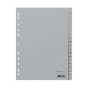 Intercalaires à onglets numériques - plastique gris - A4