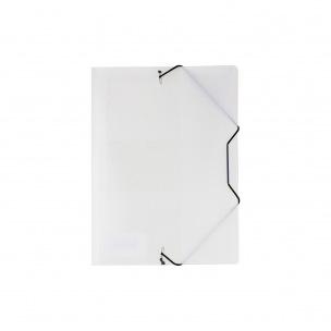 Farde à rabats et élastiques en plastique - A5 - blanc transparent