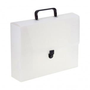 Valisette en plastique à bouton poussoir - A4 - dos 8 cm