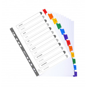 Intercalaires à onglets mensuels Exacompta - carton - A4