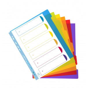 Intercalaires à onglets neutres Exacompta CAMPUS - plastique de couleur - A4 maxi