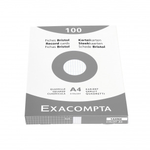 Fiches bristol Exacompta blanches- étui de 100 fiches