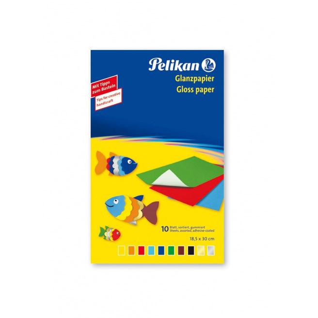 Papier glacé Pelikan - 18,5 x 30 cm - paquet de 10 feuilles