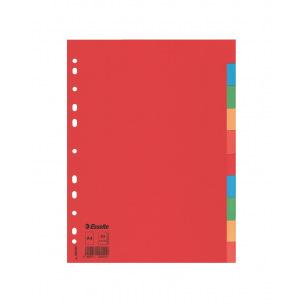 Intercalaires à onglets neutres Esselte - carton de couleur 160 g - A4