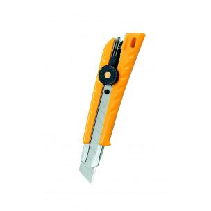 Cutter OLFA L-1 de sécurité - corps plastique avec renfort métal - lame 18 mm