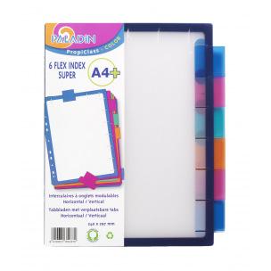 Intercalaires à onglets neutres amovibles FLEX - plastique de couleur - A4 maxi - 6 onglets