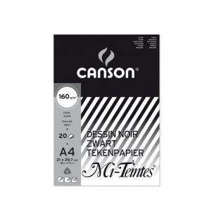 Bloc de papier dessin CANSON MI-TEINTES 160 g - A4 - noir