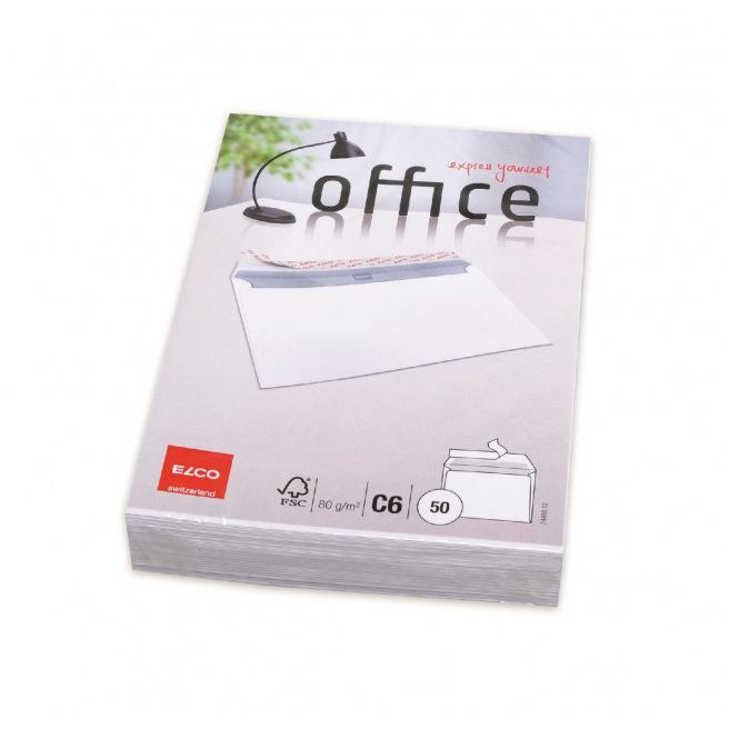 Enveloppes blanches Elco OFFICE C6 - paquet de 50