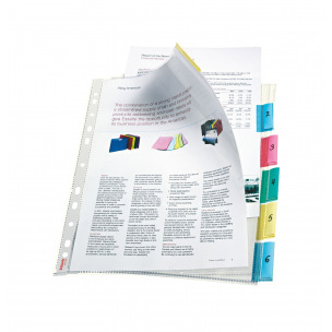 Intercalaires pochettes en plastique à onglets neutres Esselte - A4 maxi