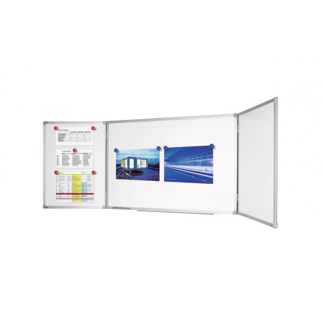 Tableau blanc magnétique en tryptique Legamaster - 240/120 x 90 cm