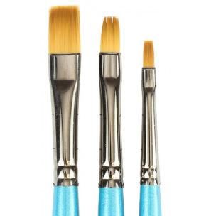 Pinceau Daler-Rowney AQUAFINE - poils synthétiques - série 62 brosse à ombrer plate