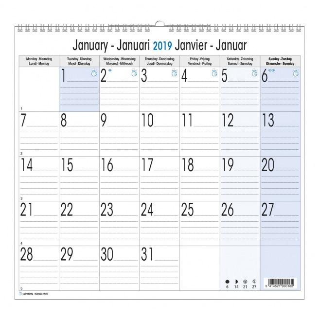 Page Calendrier.Calendrier Spirale 1 Mois Par Page 33 X 35 Cm Les Papeteries Nias Ipl