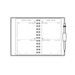 Recharge agenda Mignon - 7,3 x 12 cm - 2 jours par page