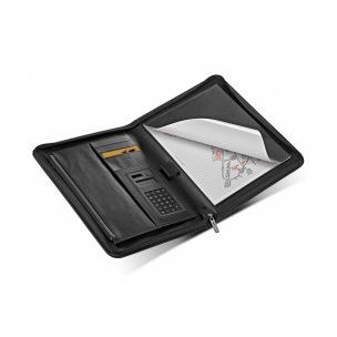 Conférencier Filofax METROPOL zippé Folio avec calculatrice - simili cuir noir