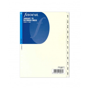 Intercalaires mensuels pour organiser Filofax - carton ivoire - A5