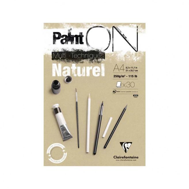 Bloc de papier CLAIREFONTAINE PAINT ON multi-techniques naturel 250 g