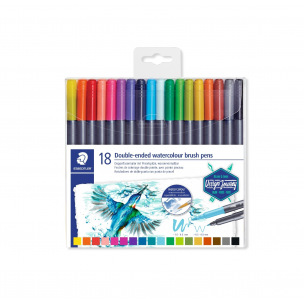 Feutres de coloriage Staedtler DOUBLE POINTE BRUSH WATERCOLOUR - étui de 18