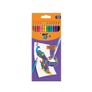 Crayons de couleur effaçables Bic Kids EVOLUTION ILLUSION - étui de 12
