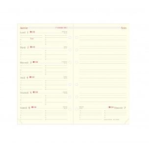 Recharge organiser Oberthur - 1 semaine par page + notes - FORMAT 17 - 10 x 17 cm