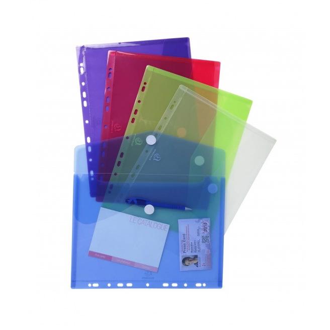 Pochette enveloppe perforée Tarifold COLOR - fermeture velcro - A4