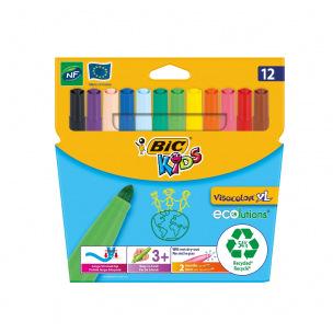 Feutres de coloriage Bic Kids VISACOLOR XL - étui de 12