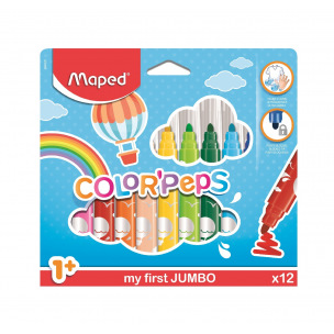 Feutres de coloriage Maped COLOR'PEPS MY FIRST JUMBO - pointe extra-large - étui de 12