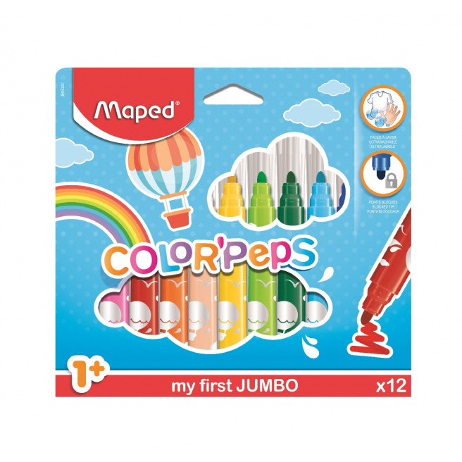 Feutres de coloriage Maped COLOR'PEPS MY FIRST JUMBO - pointe extra-large - étui de 12