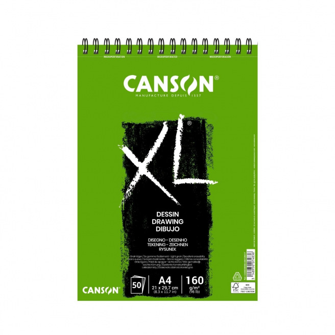 Bloc spiralé de papier CANSON XL DESSIN 160 g