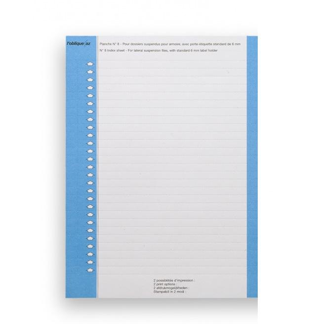 Planche d'étiquettes pour dossiers suspendus Elba N°8 - pour armoire