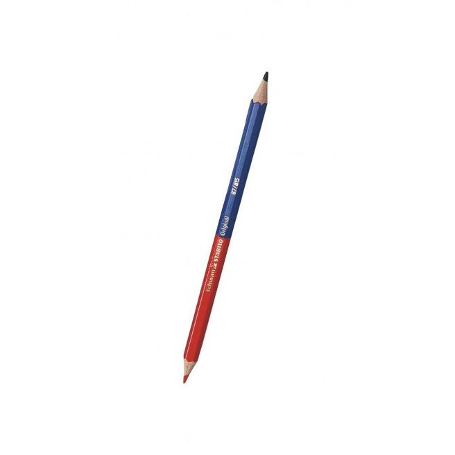 Crayon Stabilo bicolore bleu/rouge