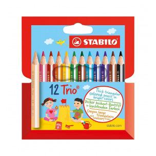 Crayons de couleur triangulaires Stabilo TRIO THICK SHORT - étui de 12
