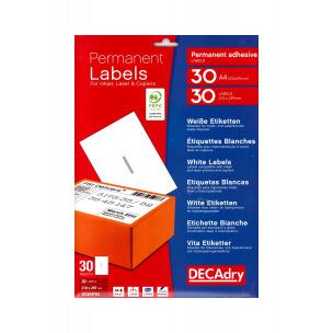Etiquettes DECADRY - paquet de 30 feuilles A4