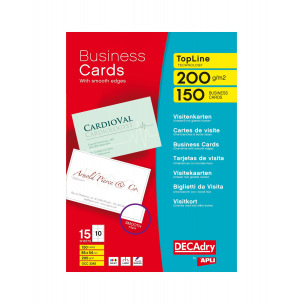 Cartes de visite DECADRY TopLine Technology - 85 x 54 mm - 200 g - 150 cartes