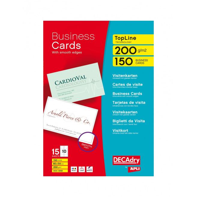 Cartes de visite DECADRY TopLine Technology - 85 x 54 mm - 200 g - 150 cartes