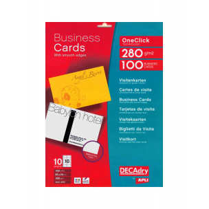 Cartes de visite DECADRY OneClick Technology - 85 x 54 mm - 280 g - 100 cartes