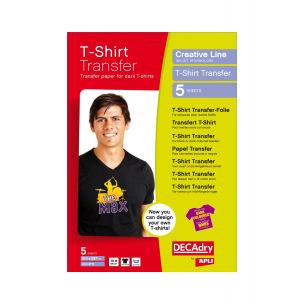Papier Transfert pour T-shirts DECADRY - paquet de 5 feuilles A4