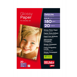 Papier photo brillant DECADRY DailyLine - A4 - 180 g - paquet de 20 feuilles