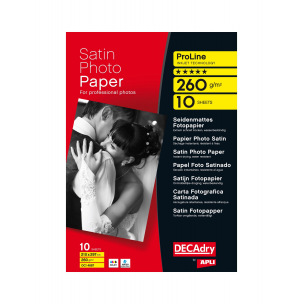 Papier photo satin DECADRY ProLine - A4 - 260 g - paquet de 10 feuilles