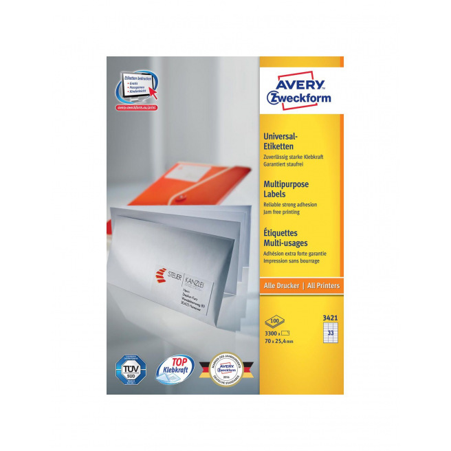 Etiquettes blanches AVERY ZWECKFORM