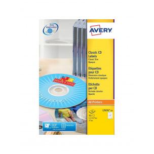 Etiquettes blanches AVERY pour CD/DVD L7676-25 - paquet de 25 feuilles A4