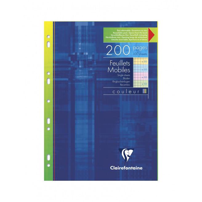 Feuillets mobiles perforés CLAIREFONTAINE papier de couleur - A4 (4 x 25 feuilles) - quadrillé 5 x 5 mm