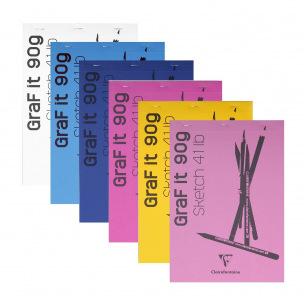 Bloc de croquis agrafé CLAIREFONTAINE GRAF'IT - 90 g